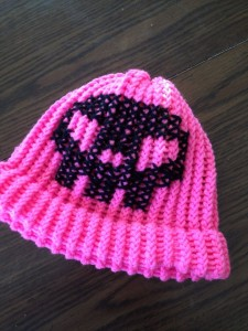 Pink with Black Skull knit hat