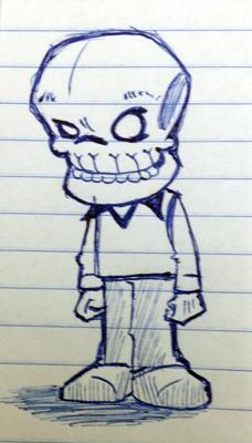 work doodle big head skull